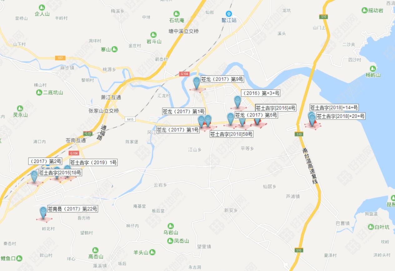 华鸿嘉信(含新华鸿)在苍南县拿地分布图